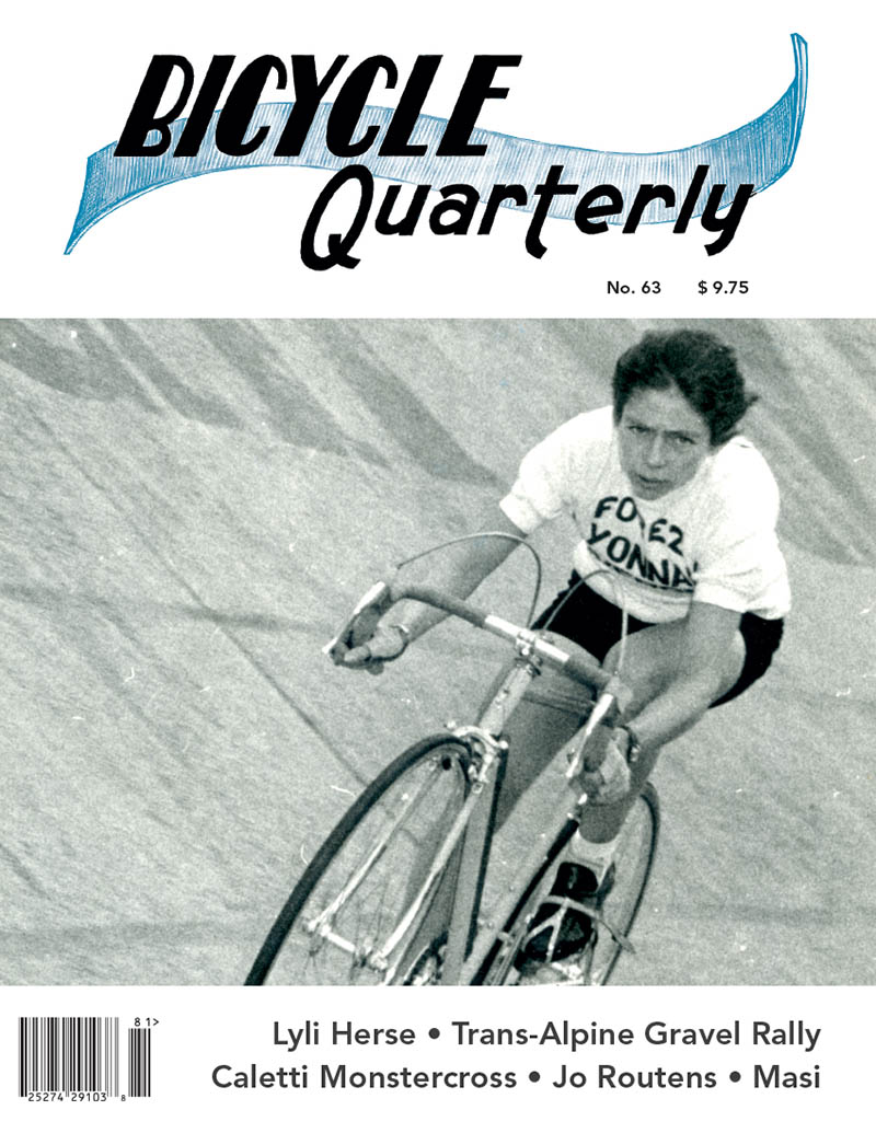 Cover of the Spring 2018 Bicycle Quarterly Magazine. Shows Lyli Herse racing on the velodrome.